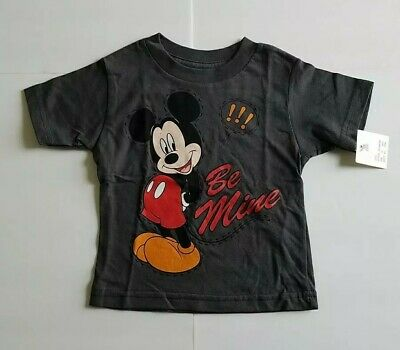 New Disney Mickey Mouse Baby Boy T-Shirt NWT 12 Months Dark Gray Red Be Mine