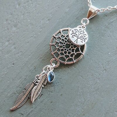 Imperial Blue topaz Dreamcatcher Tree Of Life Feather Pendant Wicca Pagan
