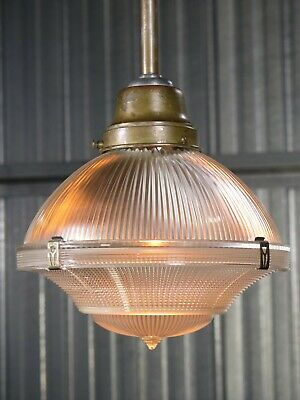 "Vtg 30s HOLOPHANE 9"" antique industrial pendant light fixture signed 1914 patent"
