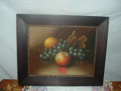 Antique, Oil Pastel of Fruit and Foliage, Late 19th to early 20th century