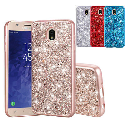 For Samsung Galaxy J7 2018/Crown/Star/Refine Bling Glitter Shockproof Case Cover