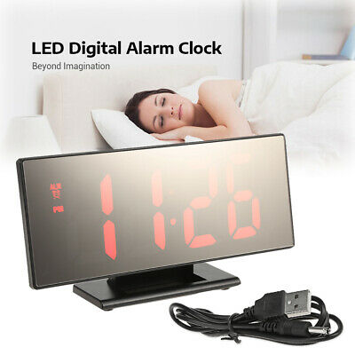 Digital USB Charging Mirror Surface Alarm Clock with 7.8 inch Large LED Display