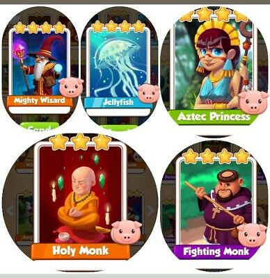 Coin Master Mighty Wizard Holy Monk Fighting Monk Jellyfish Aztec Princess Bundl