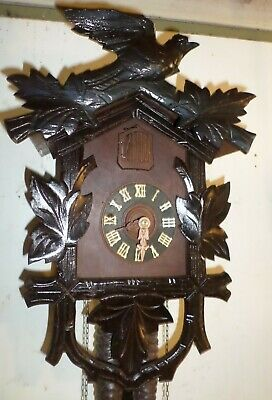 Nice Large Working Antique German Black Forest Deeply Hand Carved Cuckoo Clock!