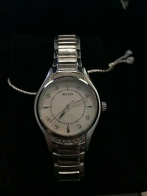Bulova 96R216 Women's Diamond Accent Mother Of Pearl Dial Stainless Steel Watch