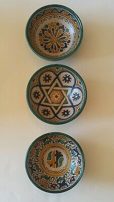 """Set of THREE Moroccan Fez Pottery Bowls Handcrafted Wall Hanging 5"""" Diameter"""