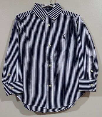 EUC Ralph Lauren Boys Blue & White Striped Dress Shirt Size 3/3T
