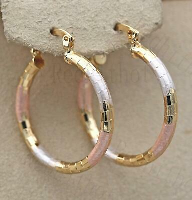 """18K Gold Filled- 1.3"""" Big Hoop Geometry Hollow Circle 3-Colored Lady Earrings UN"""