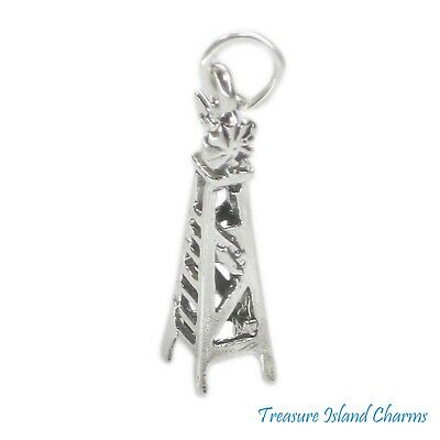 Farm Windmill Wind Water Pump 3D .925 Solid Sterling Silver Charm MADE IN USA