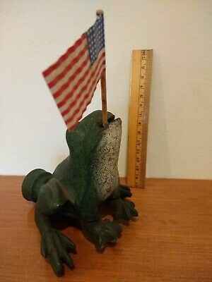 ~ANTIQUE EARLY 1900s CAST IRON FROG GARDEN LAWN SPRINKLER ORIGINAL FIRST PAINT~