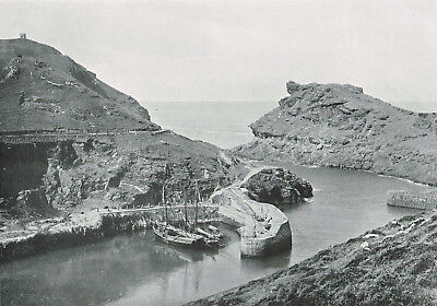 Boscastle Harbour Cornwall 1900 Antique Print Old Victorian Picture ROC#152