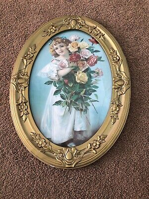 Antique Victorian Gold Wood & Floral Gesso Oval Picture Frame Little Girl Shabby