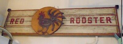 """Charming Primitive """"Red Rooster"""" Sign 60"""" Long"""