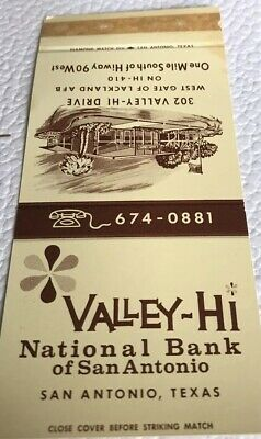 Matchbook Cover Valley Hi National Bank Of San Antonio Texas