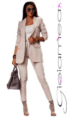 Tailleur Completo donna Pantalone Giacca SlimFit Elegante Completino Casual