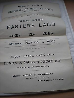 Particulars Plan & Conditions Of Sale Of Pasture Land,West Lynn,Norfolk etc 1913
