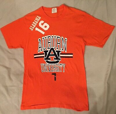 Vtg 70s/80s Ebert Auburn Tigers Vs Alabama Orange S/S T-Shirt War Eagle Sz S  A7