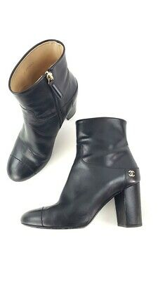 6951f3a90231 Chanel Black 15A Black Calfskin Leather Cap Toe Ankle Boots Shoes Size 39