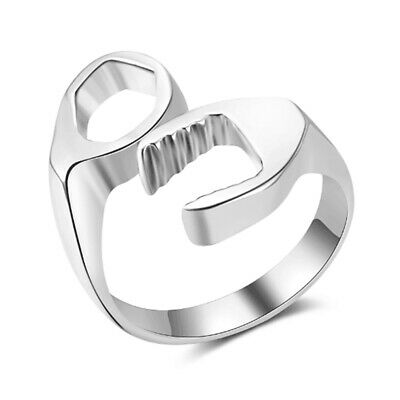 New Fashion Men's Ring Cool Biker Mechanic Wrench Stainless Steel Punk Style Rin