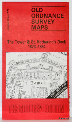 Old Ordnance Survey Map of The Tower & St.Katherine's Dock 1873  Godfrey Edition