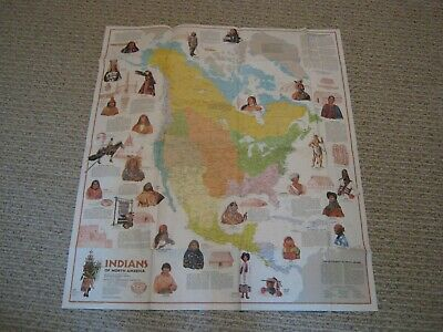VINTAGE INDIANS OF NORTH AMERICA BEFORE COLUMBUS MAP National Geographic 1974