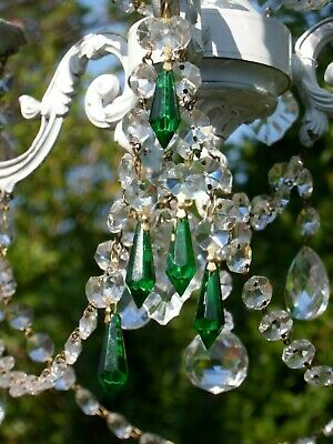 Pretty Chandelier Small Crystal Glass Emerald Green Bomb Drops &Crystal Droplets