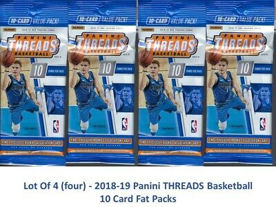 (4) 2018-19 Panini THREADS Basketball NBA Trading Cards 10c Retail FAT PACK LOT