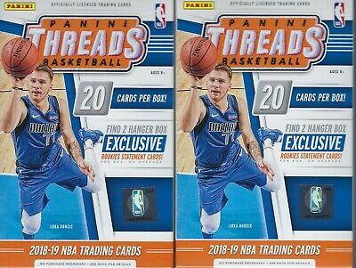 (2) 2018-19 Panini THREADS Basketball NBA Cards 20c Retail HANGER Box LOT FS