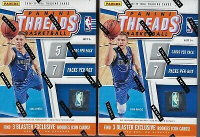 (2) 2018-19 Panini THREADS Basketball NBA Cards 35c Retail BLASTER Box LOT FS