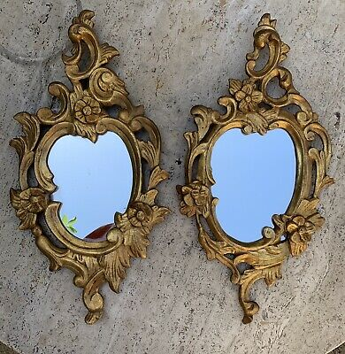 Magnificent Pair Of French Antique Carved Wooden Hanging Mirrors