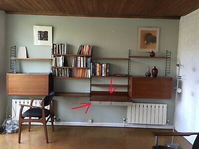 ORIGINAL Vintage Mid Century String  Shelves suspended writing desk with draws