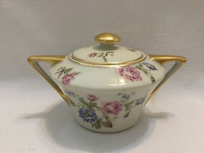 CH FIELD HAVILAND LIMOGES Finest French Ivory China Covered Sugar Bowl-VGUC