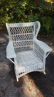 Antique Reed Wicker Rocker Bar Harbor Design Painted White Circa 1920