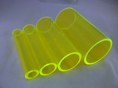 Fluorescent Green Acrylic Perspex Hollow Tubes Various Diameters & Lengths