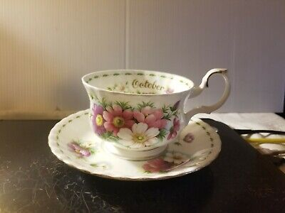 Royal Albert Extra Large Breakfast Teacup & Saucer Flower of the Month COSMOS Oc