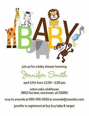 Baby Jungle Baby Shower Baby Reveal Invitation Boy Girl Neutral Any Colors