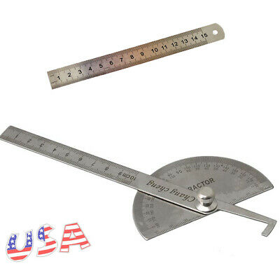 Stainless Rotary Protractor Steel Round Head Angle Finder Rule Measure Tool Kit