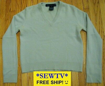 FRENCH CONNECTION FCUK Lt Blue Cashmere V-neck sweater XXS or Girls M good cond