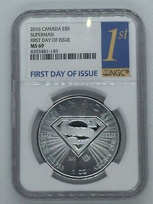 2016 Canada 1 oz Silver SUPERMAN Coin NGC MS69 First Day of Issue S Shield