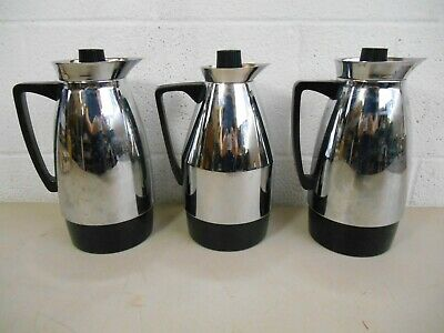 3 Vintage Chrome Hot Cold Beverage Pitchers Coffee Tea Made in Japan