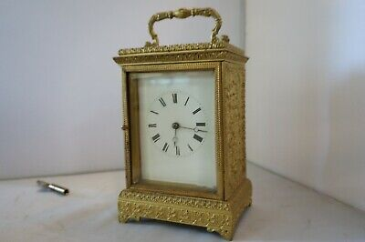 Antique French Carriage Clock Brass Gilt High Relief Floral Design, Working!