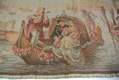 Antique Wall Tapestry Art Romantic Venice Love Boats Canal  Flowers Dogs France