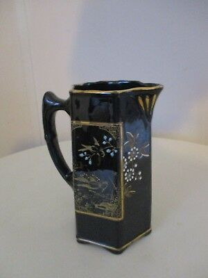 Vintage SJB Samuel Johnson Burslem Black Jug With Oriental Pattern 16cm Tall