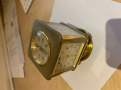 Angelus Table Clock with 8 day movement, compass and weather station SWISS MADE