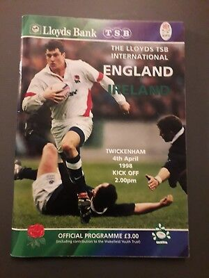 1998-England V Ireland-Five Nations-England Triple Crown-Rugby Union Programme