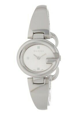 c0a2775eaee Gucci Womens Guccissima Small Stainless Steel Bangle Watch Silver Dial MSRP   595
