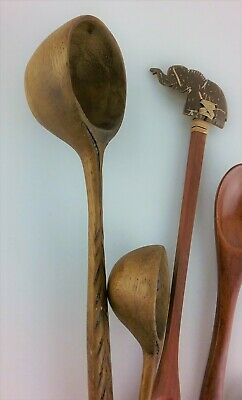Hand Carved Wooden Spoon African Wood and Art/Craft Spoons Small Ladles Elephant
