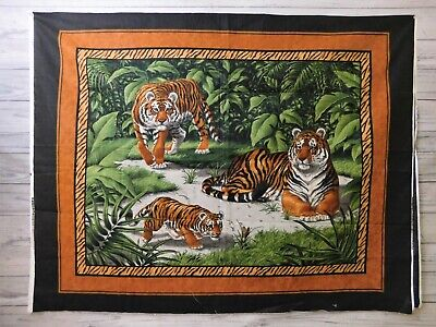 Vintage Cranston Cotton Wall Quilt Panel Fabric Tigers Green Russet 36x44