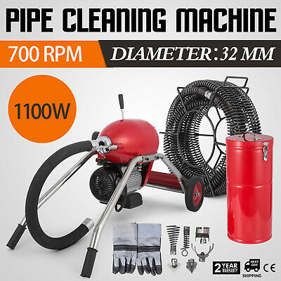 1100W Drain Cleaner 30mm Spirals Safe 200FT Portable FREE WARRANTY HOT GOOD