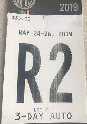 2019 Indy Indianapolis 500 Official Parking Lot 2 Pass 3 DAY May 24 25 26 Close